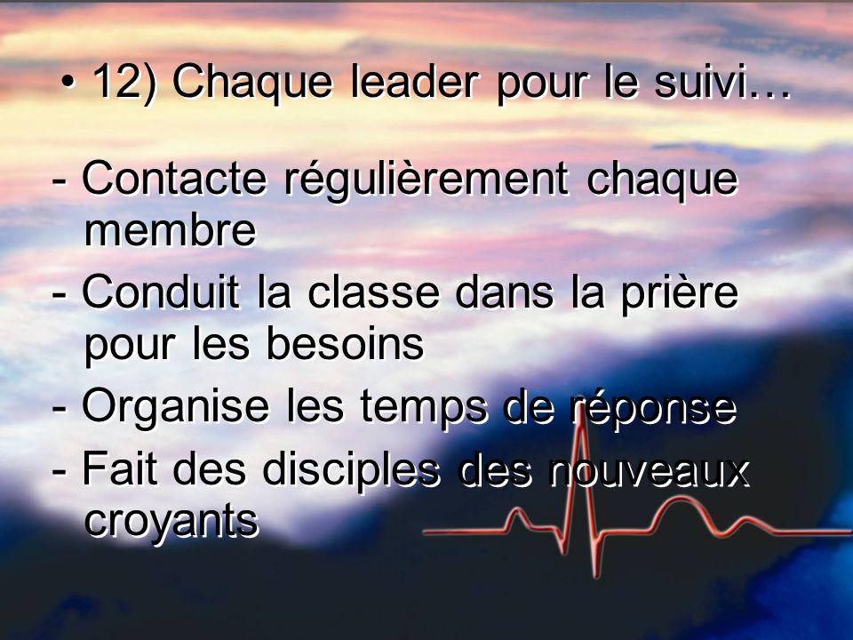 12) Chaque leader pour le suivi… - Contacte régulièrement chaque membre - Conduit la classe dans la prière pour les besoins - Organise les temps de ré