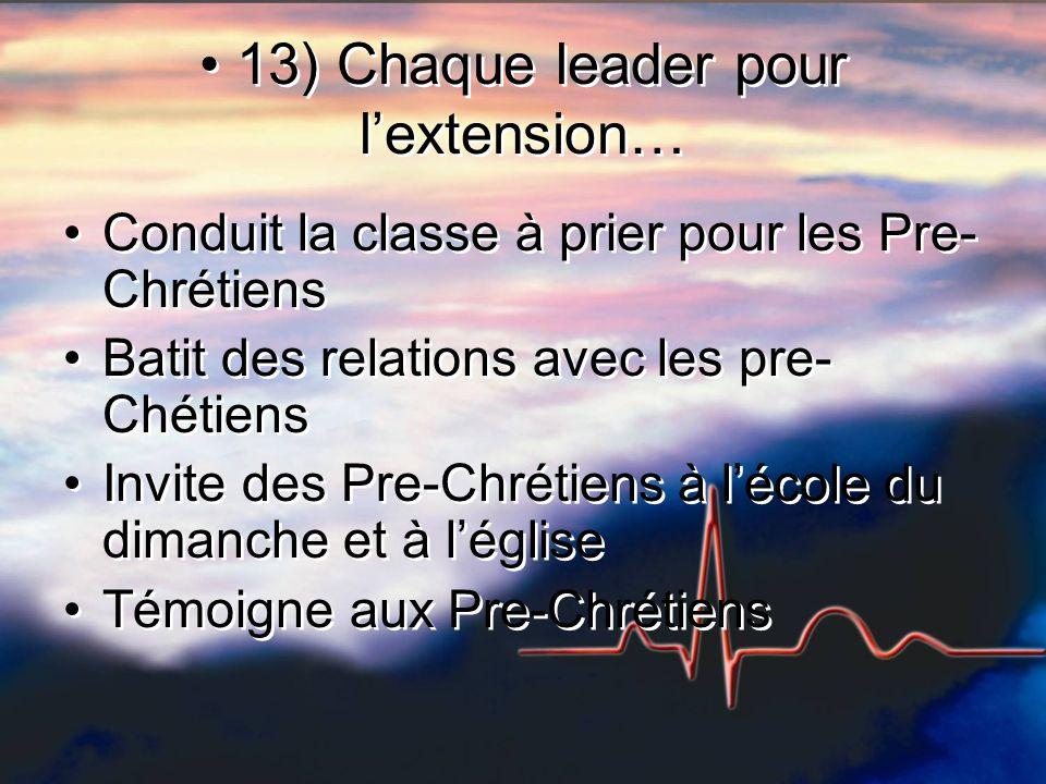 13) Chaque leader pour lextension… Conduit la classe à prier pour les Pre- Chrétiens Batit des relations avec les pre- Chétiens Invite des Pre-Chrétie