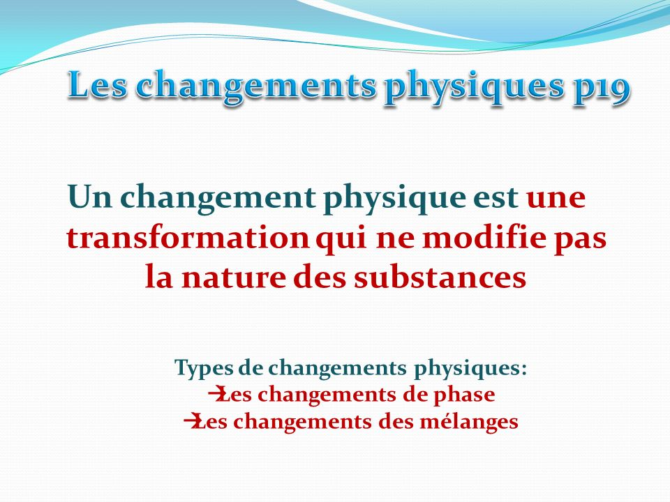 Phase gazeuse Phase liquide Phase solide -Sublimation -Vaporisation -Fusion -Condensation solide -Solidification - Condensation liquide