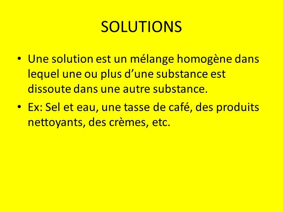 SOLUTIONS Une solution est un mélange homogène dans lequel une ou plus dune substance est dissoute dans une autre substance. Ex: Sel et eau, une tasse