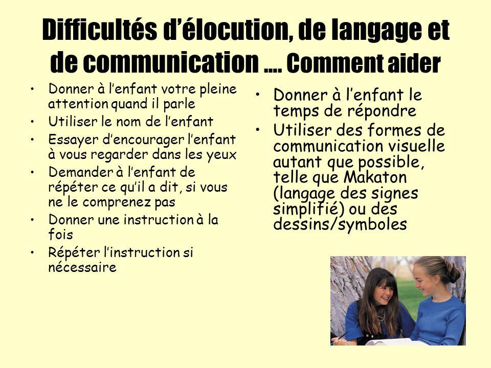 Difficultés délocution, de langage et de communication …. Comment aider Donner à lenfant votre pleine attention quand il parle Utiliser le nom de lenf
