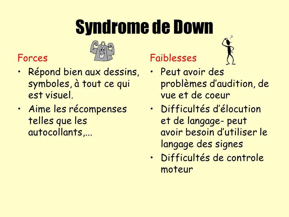 Syndrome de Down Forces Répond bien aux dessins, symboles, à tout ce qui est visuel. Aime les récompenses telles que les autocollants,... Faiblesses P
