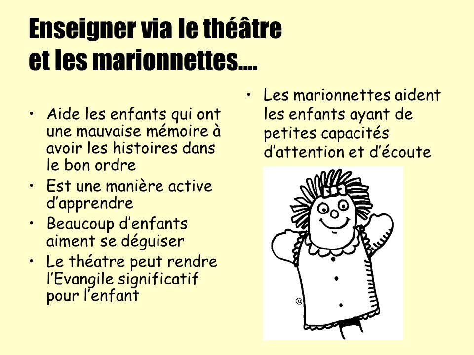 Enseigner via le théâtre et les marionnettes…. Aide les enfants qui ont une mauvaise mémoire à avoir les histoires dans le bon ordre Est une manière a