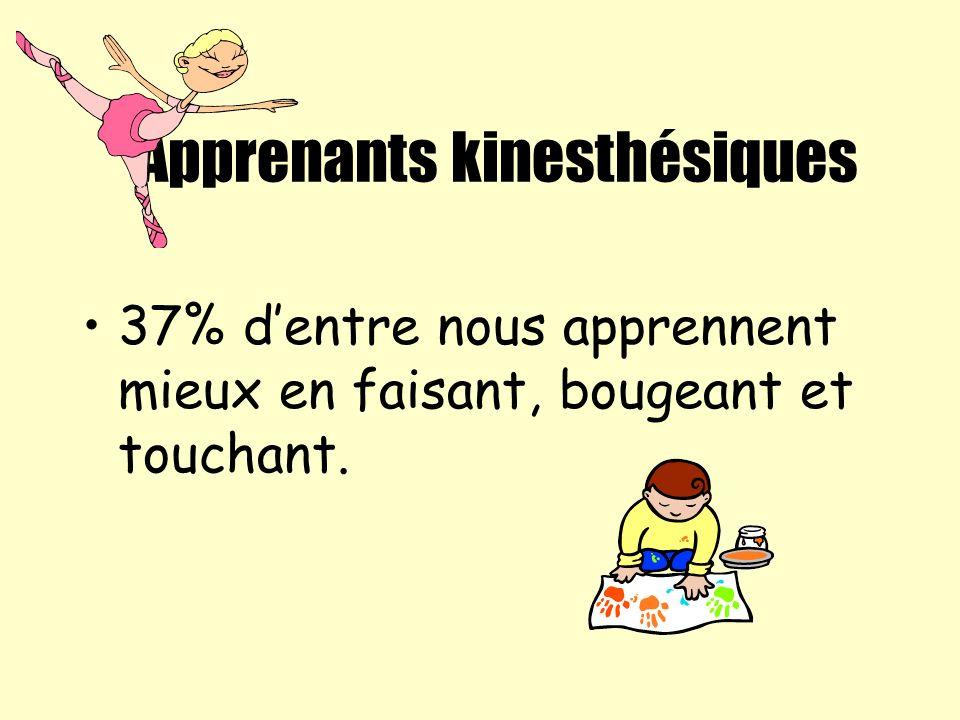 Apprenants kinesthésiques 37% dentre nous apprennent mieux en faisant, bougeant et touchant.