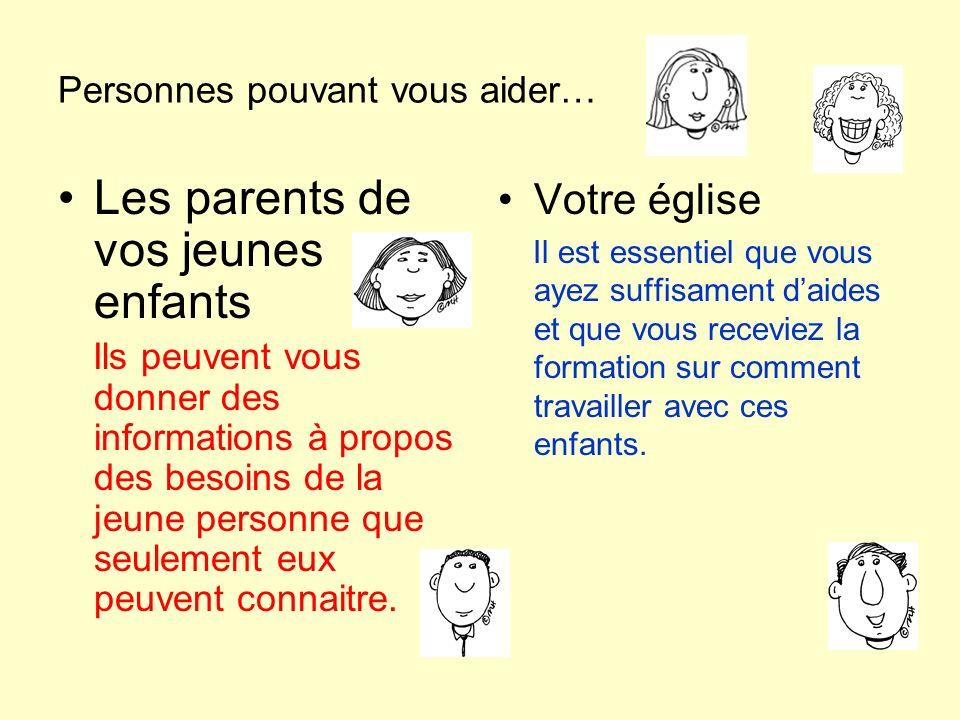 Personnes pouvant vous aider… Les parents de vos jeunes enfants Ils peuvent vous donner des informations à propos des besoins de la jeune personne que