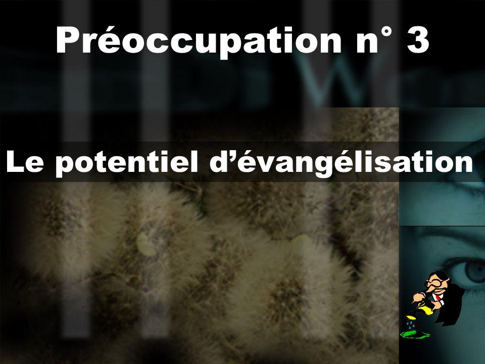 Le potentiel dévangélisation Préoccupation n° 3