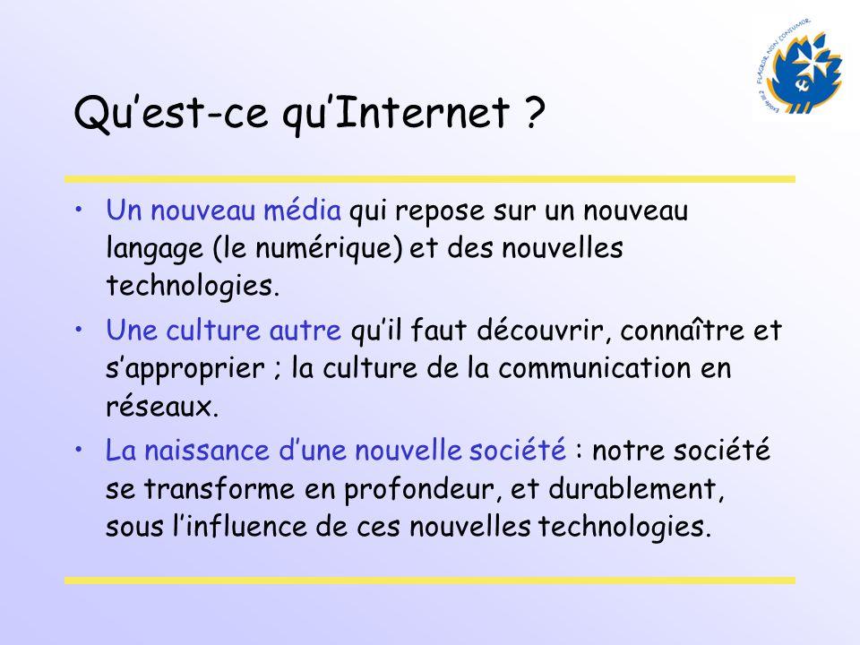 Quest-ce quInternet ? Un nouveau média qui repose sur un nouveau langage (le numérique) et des nouvelles technologies. Une culture autre quil faut déc