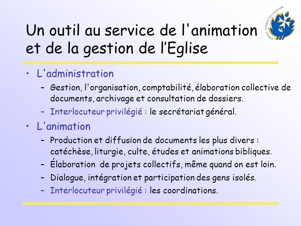 Un outil au service de l'animation et de la gestion de lEglise L'administration –Gestion, l'organisation, comptabilité, élaboration collective de docu