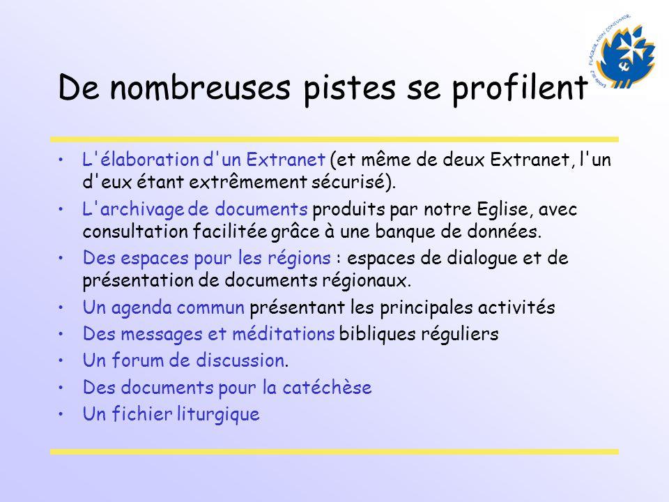 De nombreuses pistes se profilent L'élaboration d'un Extranet (et même de deux Extranet, l'un d'eux étant extrêmement sécurisé). L'archivage de docume