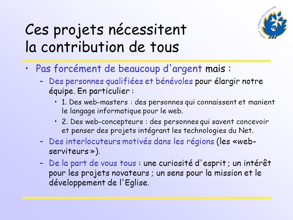 Ces projets nécessitent la contribution de tous Pas forcément de beaucoup d'argent mais : –Des personnes qualifiées et bénévoles pour élargir notre éq