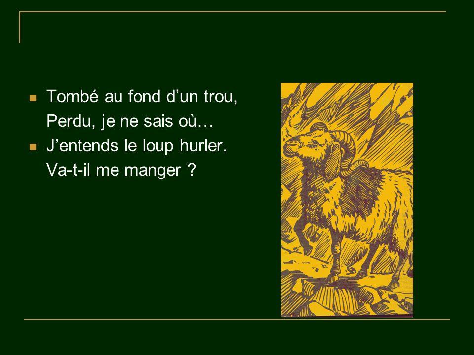 Tombé au fond dun trou, Perdu, je ne sais où… Jentends le loup hurler. Va-t-il me manger ?