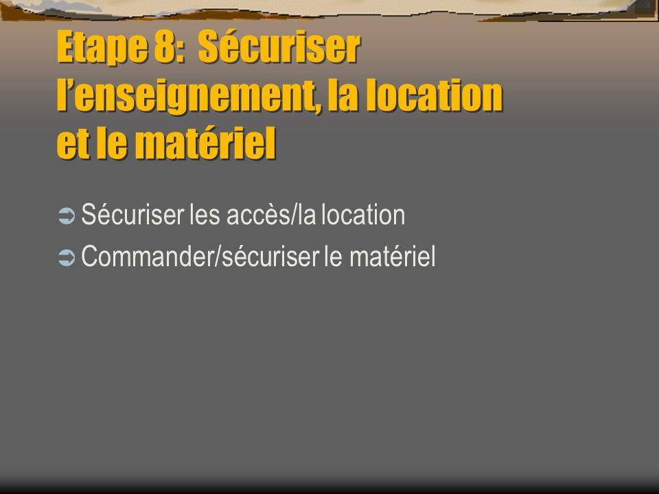 Etape 8: Sécuriser lenseignement, la location et le matériel Sécuriser les accès/la location Commander/sécuriser le matériel