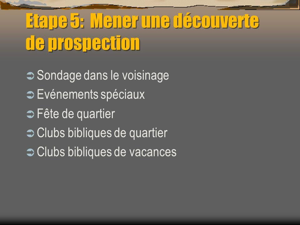 Etape 5: Mener une découverte de prospection Sondage dans le voisinage Evénements spéciaux Fête de quartier Clubs bibliques de quartier Clubs biblique