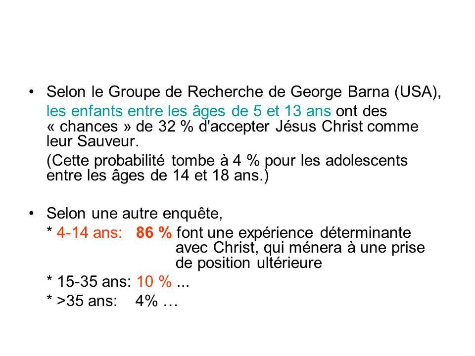 Selon le Groupe de Recherche de George Barna (USA), les enfants entre les âges de 5 et 13 ans ont des « chances » de 32 % d accepter Jésus Christ comme leur Sauveur.