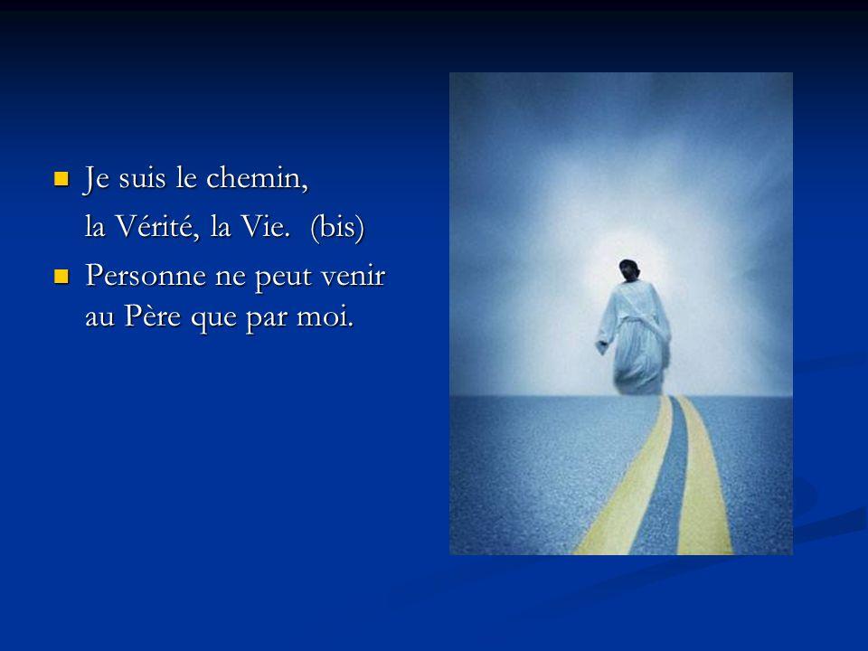 Je suis le chemin, Je suis le chemin, la Vérité, la Vie. (bis) Personne ne peut venir au Père que par moi. Personne ne peut venir au Père que par moi.
