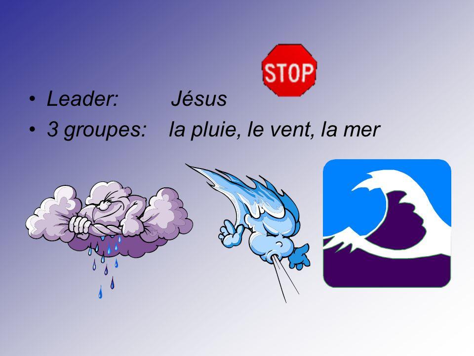 Leader: Jésus 3 groupes: la pluie, le vent, la mer