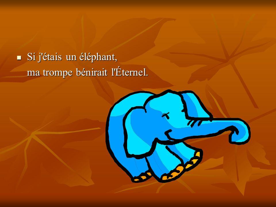 Si j'étais un éléphant, Si j'étais un éléphant, ma trompe bénirait l'Éternel.