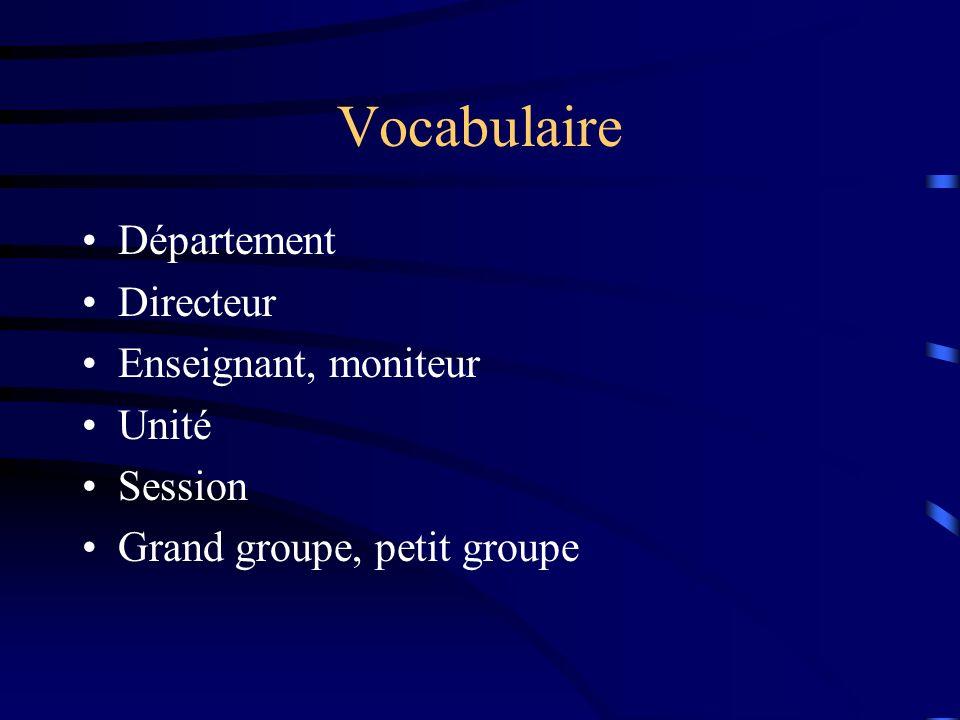Vocabulaire Département Directeur Enseignant, moniteur Unité Session Grand groupe, petit groupe