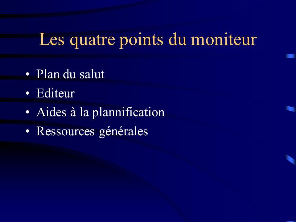 Les quatre points du moniteur Plan du salut Editeur Aides à la plannification Ressources générales