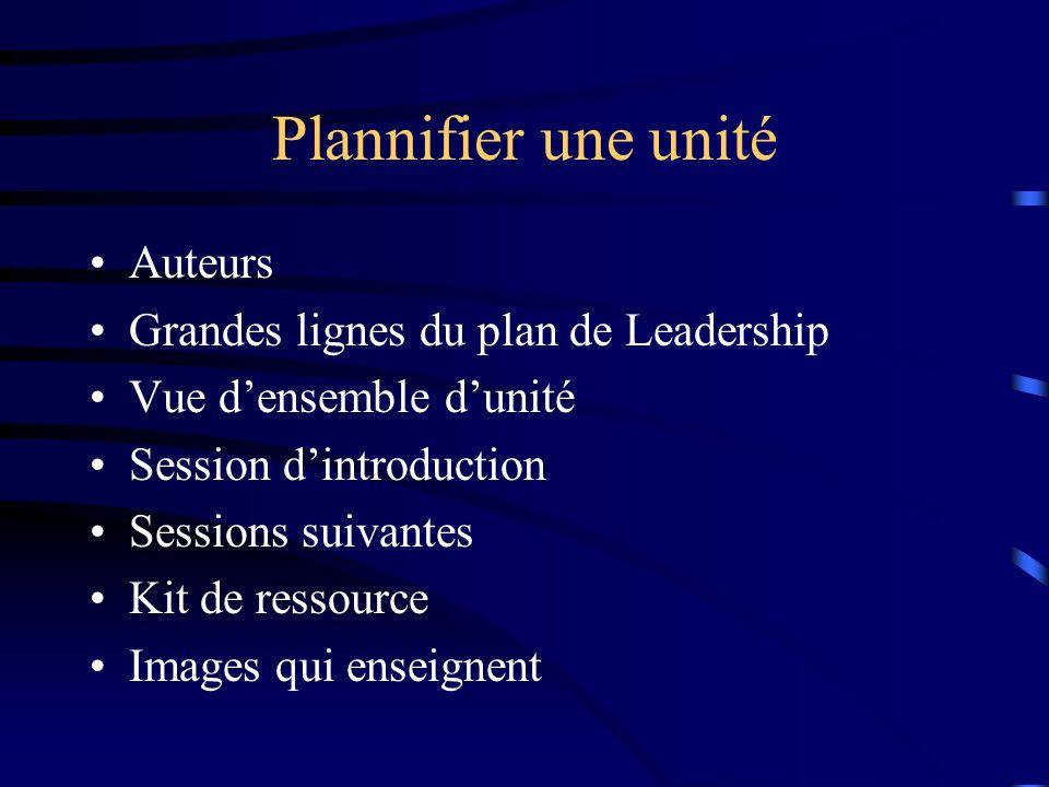 Plannifier une unité Auteurs Grandes lignes du plan de Leadership Vue densemble dunité Session dintroduction Sessions suivantes Kit de ressource Images qui enseignent