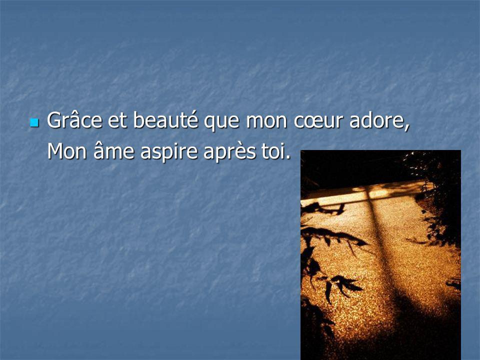 Grâce et beauté que mon cœur adore, Grâce et beauté que mon cœur adore, Mon âme aspire après toi.