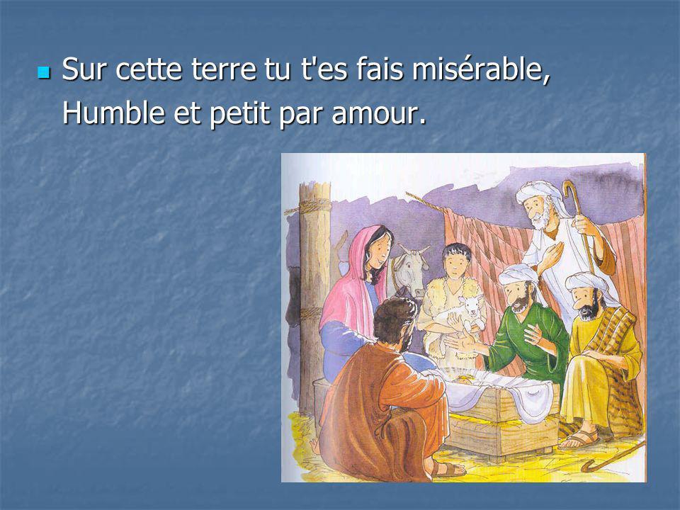 Sur cette terre tu t'es fais misérable, Sur cette terre tu t'es fais misérable, Humble et petit par amour.