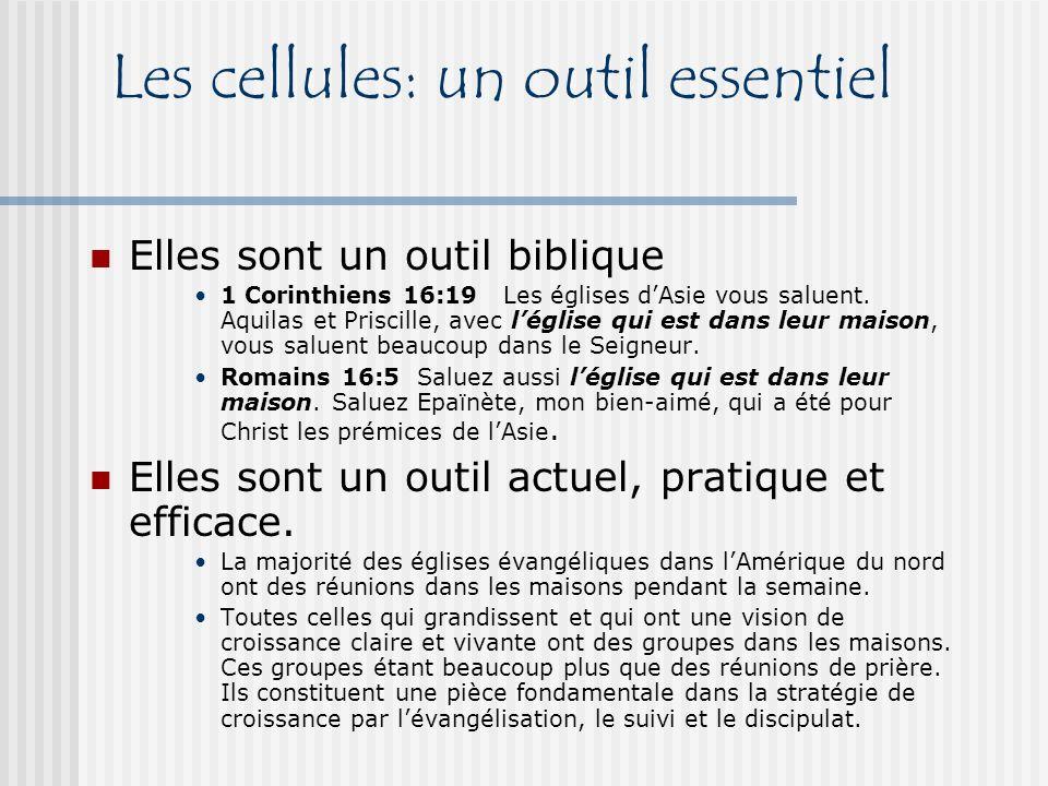 Les cellules: un outil pour lévangélisation Évangélisation dans un but et une vision précis Évangélisation adaptée au contexte Évangélisation de proximité