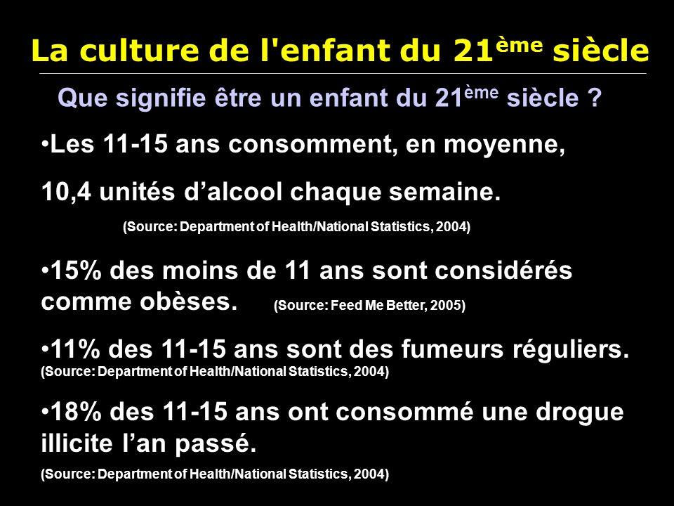 La culture de l'enfant du 21 ème siècle Les 11-15 ans consomment, en moyenne, 10,4 unités dalcool chaque semaine. (Source: Department of Health/Nation