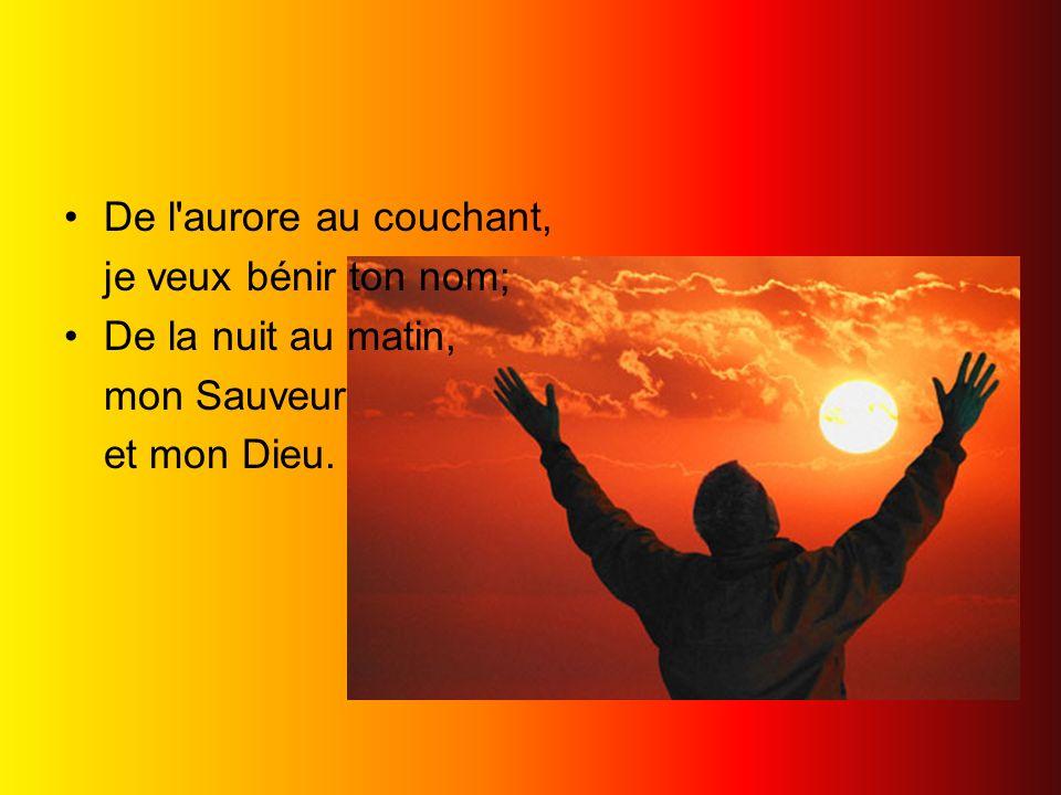 De l'aurore au couchant, je veux bénir ton nom; De la nuit au matin, mon Sauveur et mon Dieu.