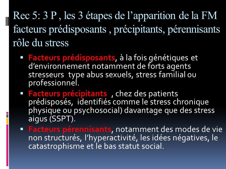 Rec 5: 3 P, les 3 étapes de lapparition de la FM facteurs prédisposants, précipitants, pérennisants rôle du stress Facteurs prédisposants, à la fois g