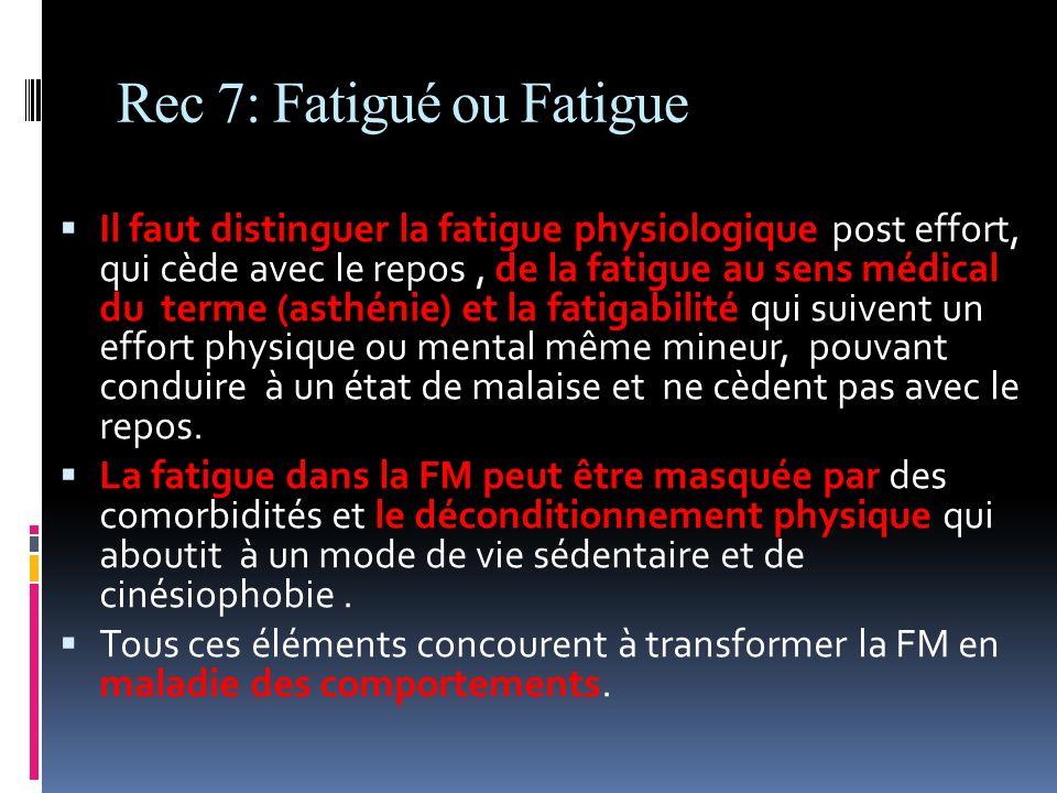 Rec 7: Fatigué ou Fatigue Il faut distinguer la fatigue physiologique post effort, qui cède avec le repos, de la fatigue au sens médical du terme (ast