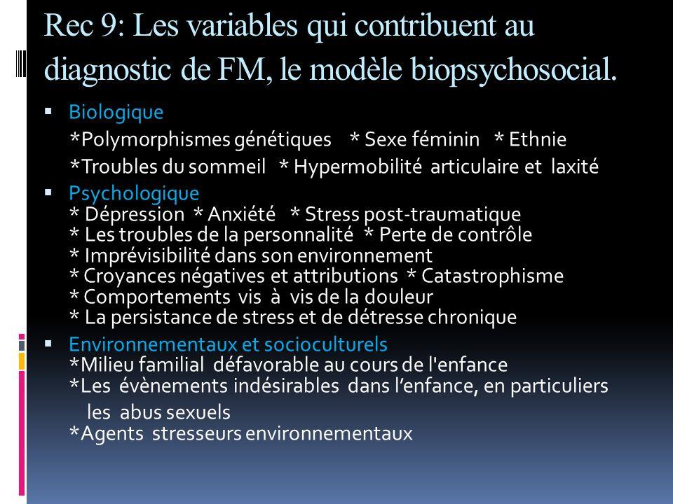 Rec 9: Les variables qui contribuent au diagnostic de FM, le modèle biopsychosocial. Biologique *Polymorphismes génétiques * Sexe féminin * Ethnie *Tr