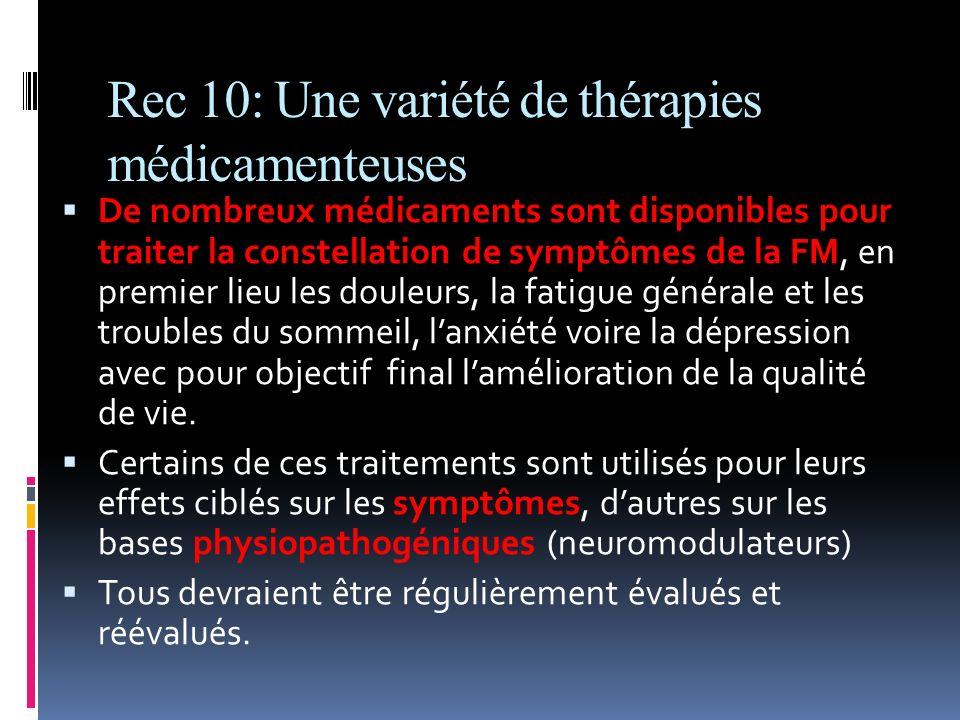 Rec 10: Une variété de thérapies médicamenteuses De nombreux médicaments sont disponibles pour traiter la constellation de symptômes de la FM, en prem