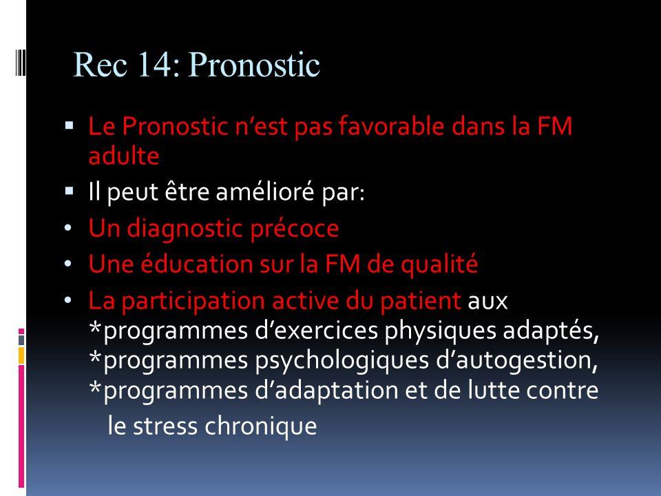 Rec 14: Pronostic Le Pronostic nest pas favorable dans la FM adulte Il peut être amélioré par: Un diagnostic précoce Une éducation sur la FM de qualit
