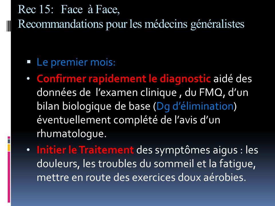 Rec 15: Face à Face, Recommandations pour les médecins généralistes Le premier mois: Confirmer rapidement le diagnostic aidé des données de lexamen cl