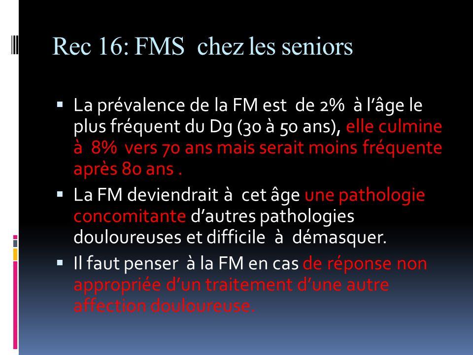 Rec 16: FMS chez les seniors La prévalence de la FM est de 2% à lâge le plus fréquent du Dg (30 à 50 ans), elle culmine à 8% vers 70 ans mais serait m