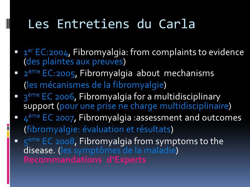 Les Entretiens du Carla 1 er EC:2004, Fibromyalgia: from complaints to evidence (des plaintes aux preuves) 2 ème EC:2005, Fibromyalgia about mechanism