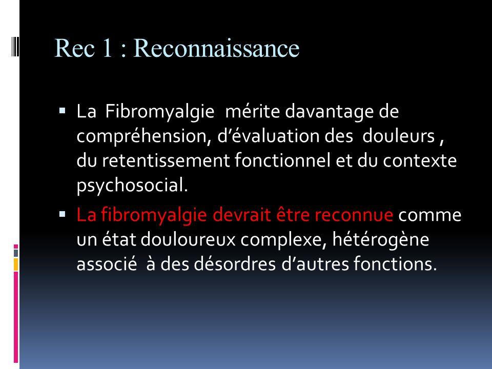 Rec 1 : Reconnaissance La Fibromyalgie mérite davantage de compréhension, dévaluation des douleurs, du retentissement fonctionnel et du contexte psych