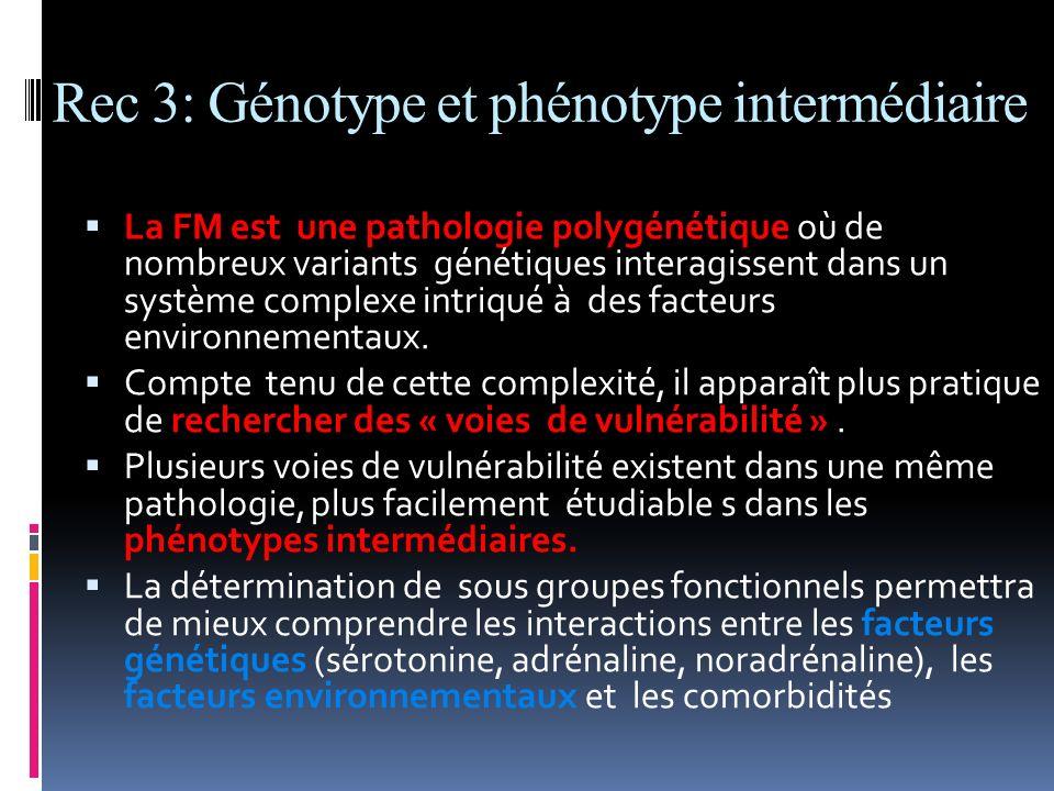 Rec 3: Génotype et phénotype intermédiaire La FM est une pathologie polygénétique où de nombreux variants génétiques interagissent dans un système com