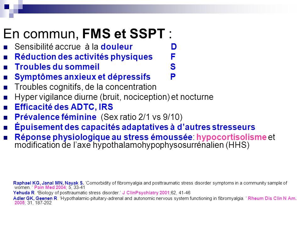 En commun, FMS et SSPT : Sensibilité accrue à la douleur D Réduction des activités physiques F Troubles du sommeil S Symptômes anxieux et dépressifs P