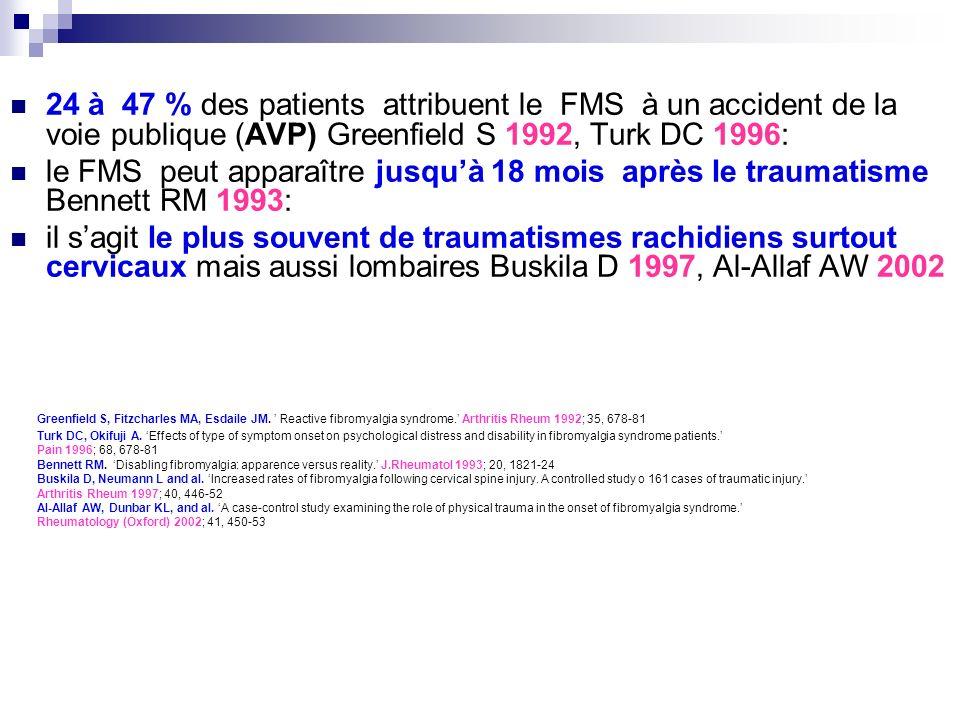 24 à 47 % des patients attribuent le FMS à un accident de la voie publique (AVP) Greenfield S 1992, Turk DC 1996: le FMS peut apparaître jusquà 18 moi