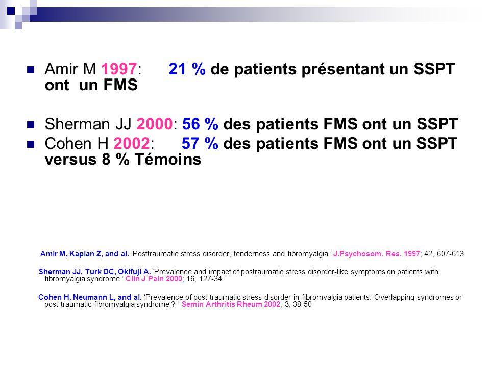 Amir M 1997: 21 % de patients présentant un SSPT ont un FMS Sherman JJ 2000: 56 % des patients FMS ont un SSPT Cohen H 2002: 57 % des patients FMS ont