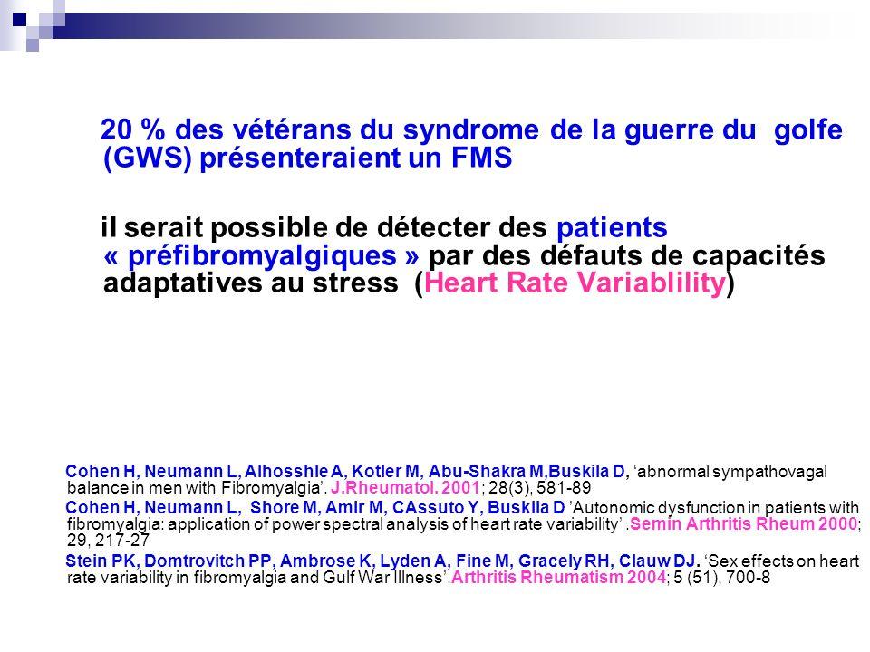 20 % des vétérans du syndrome de la guerre du golfe (GWS) présenteraient un FMS il serait possible de détecter des patients « préfibromyalgiques » par
