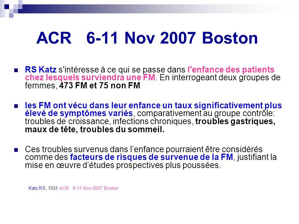 ACR 6-11 Nov 2007 Boston RS Katz s'intéresse à ce qui se passe dans l'enfance des patients chez lesquels surviendra une FM. En interrogeant deux group