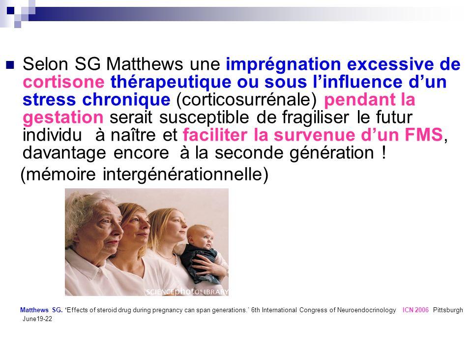 Selon SG Matthews une imprégnation excessive de cortisone thérapeutique ou sous linfluence dun stress chronique (corticosurrénale) pendant la gestatio
