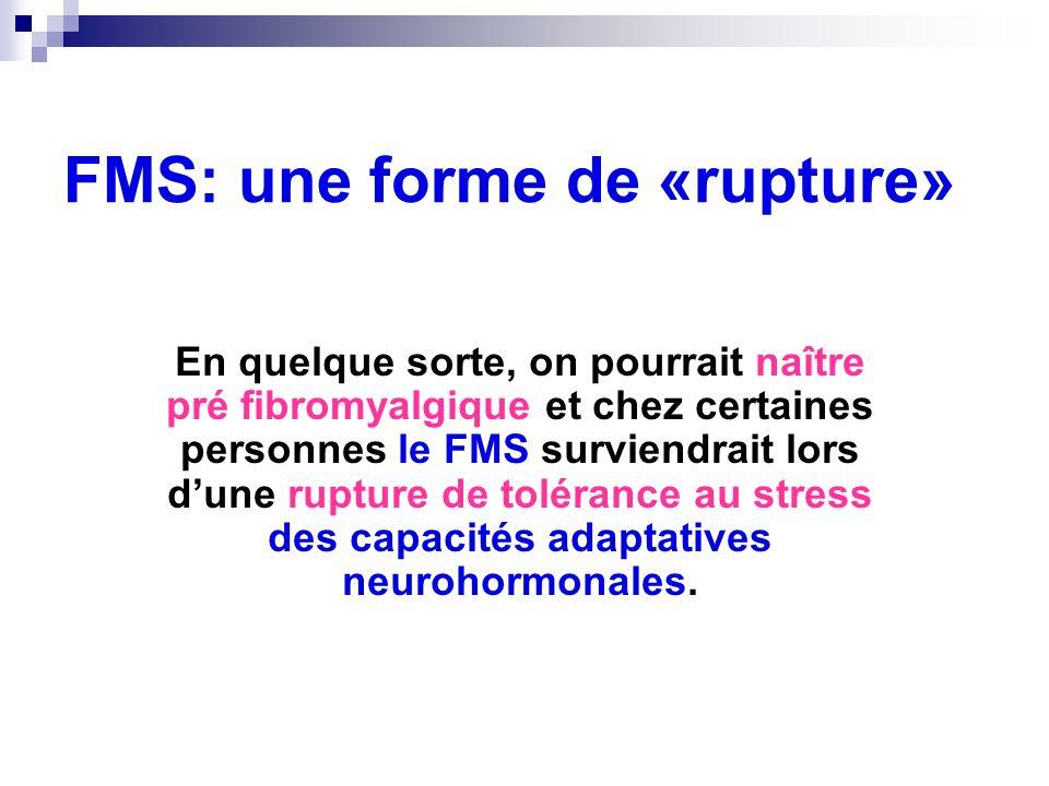 FMS: une forme de «rupture» En quelque sorte, on pourrait naître pré fibromyalgique et chez certaines personnes le FMS surviendrait lors dune rupture