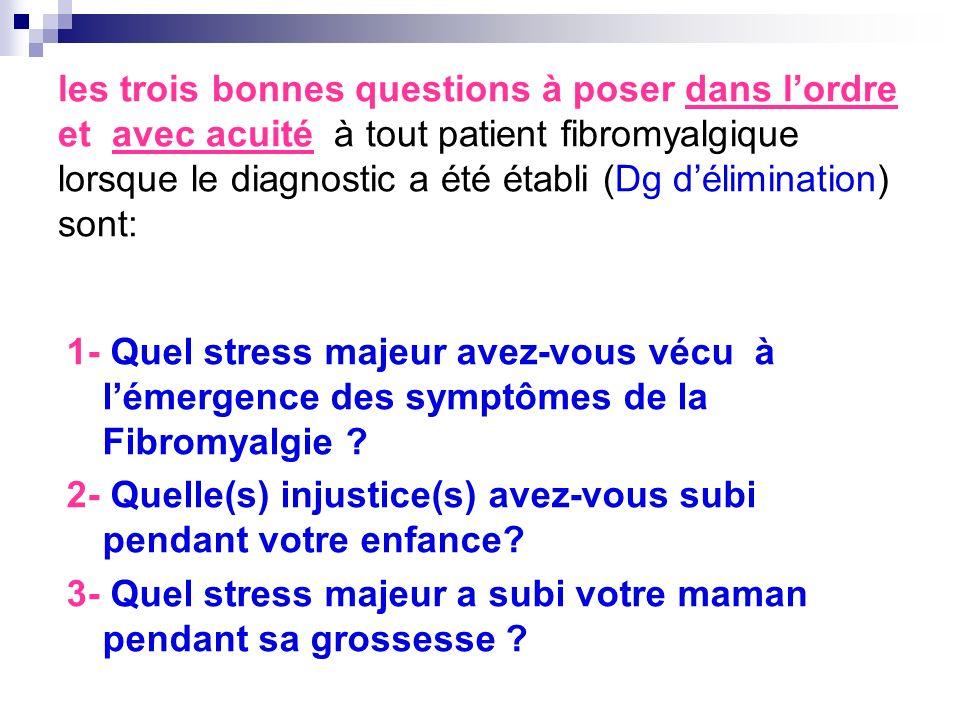 les trois bonnes questions à poser dans lordre et avec acuité à tout patient fibromyalgique lorsque le diagnostic a été établi (Dg délimination) sont: