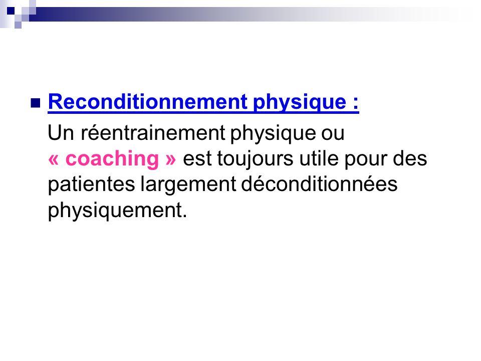 Reconditionnement physique : Un réentrainement physique ou « coaching » est toujours utile pour des patientes largement déconditionnées physiquement.