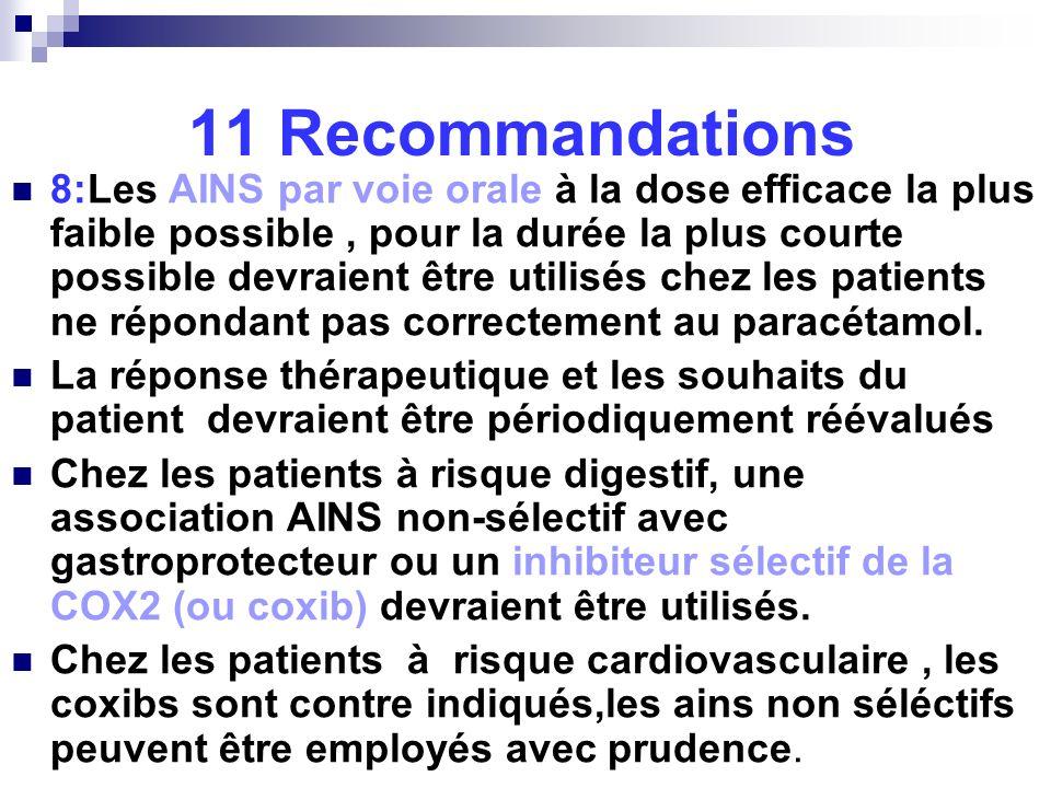 11 Recommandations 8:Les AINS par voie orale à la dose efficace la plus faible possible, pour la durée la plus courte possible devraient être utilisés