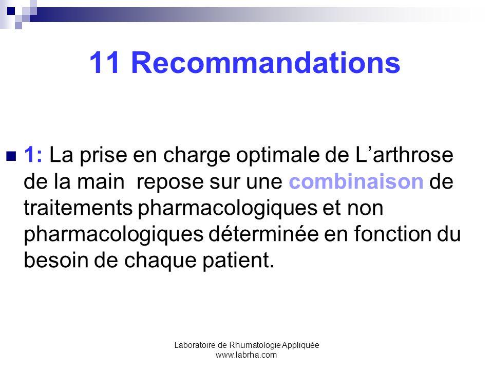 Laboratoire de Rhumatologie Appliquée www.labrha.com 11 Recommandations 1: La prise en charge optimale de Larthrose de la main repose sur une combinai